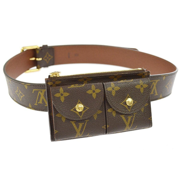 Louis Vuitton Monogram Men's Women's Dual Double Fanny Pack Waist Belt Bag For Sale