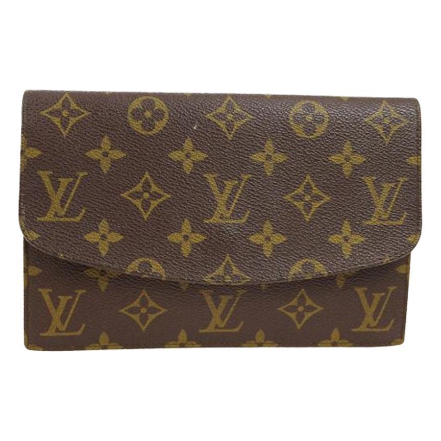 Louis Vuitton Monogram Men's Women's Envelope Fold Over Evening Flap Clutch Bag