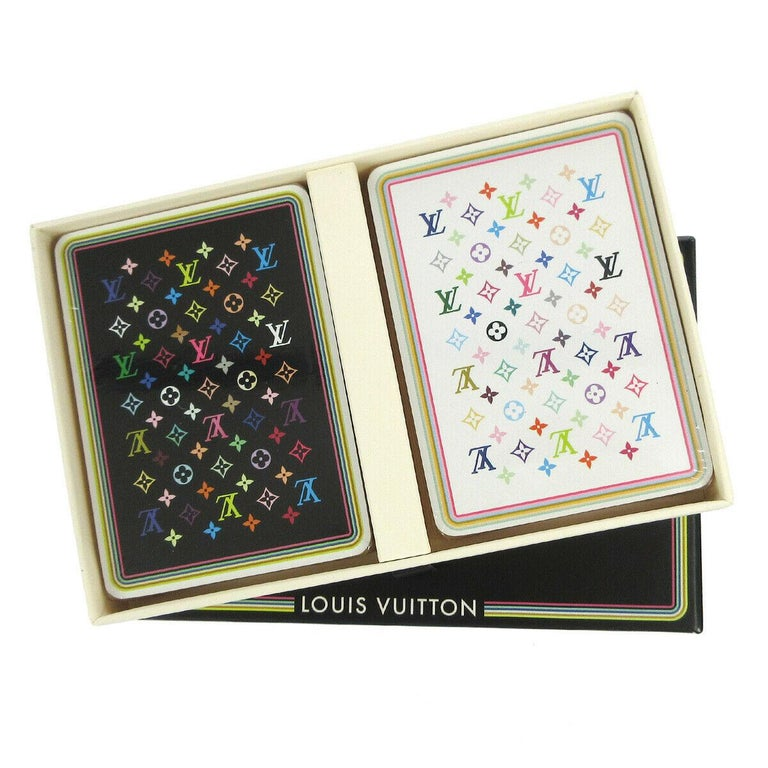 Beige Louis Vuitton Monogram Multicolor White Black Novelty Card Deck of Cards in Box For Sale