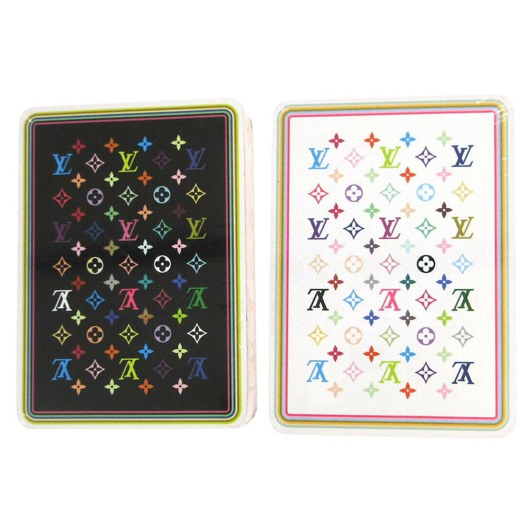 Louis Vuitton Monogram Multicolor White Black Novelty Card Deck of Cards in Box For Sale