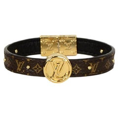 Louis Vuitton Monogram/Noir Black Circle Logo Reversible Studded Bracelet