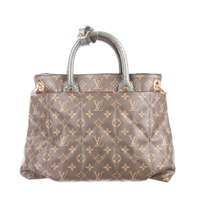 Brown Louis Vuitton Monogram Ostrich Exotic Top Handle Satchel Small Shoulder Tote Bag For Sale