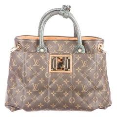 Louis Vuitton Monogram Ostrich Exotic Top Handle Satchel Small Shoulder Tote Bag