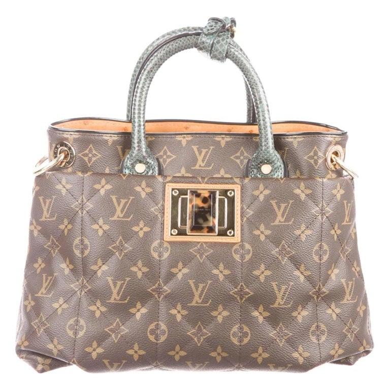 Louis Vuitton Monogram Ostrich Exotic Top Handle Satchel Small Shoulder Tote Bag For Sale