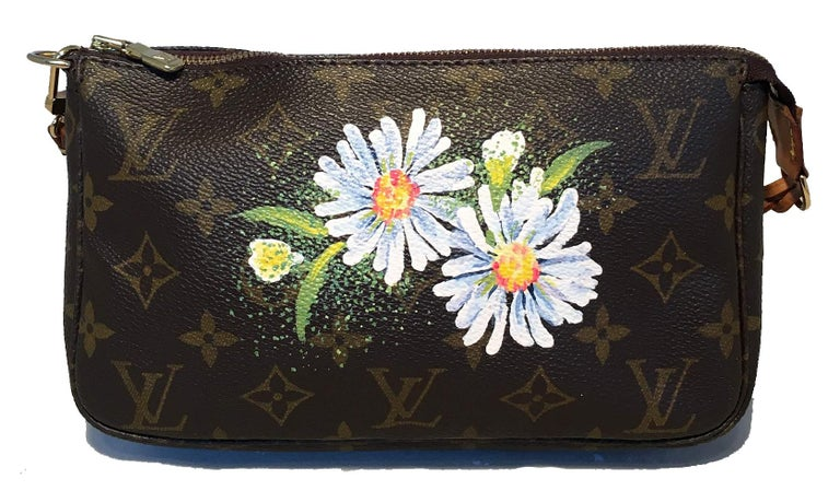 Black Louis Vuitton Monogram Painted Daisies Pochette Accessoires Accessories Pouch For Sale