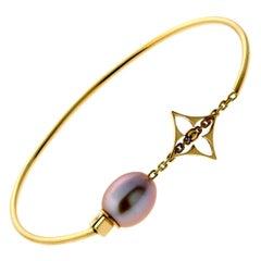 Louis Vuitton Monogram Pearl Gold Bangle Bracelet