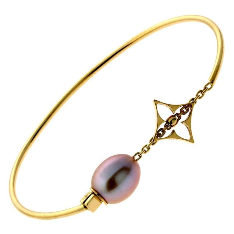 Louis Vuitton Monogram Pearl Gold Bangle Bracelet For Sale