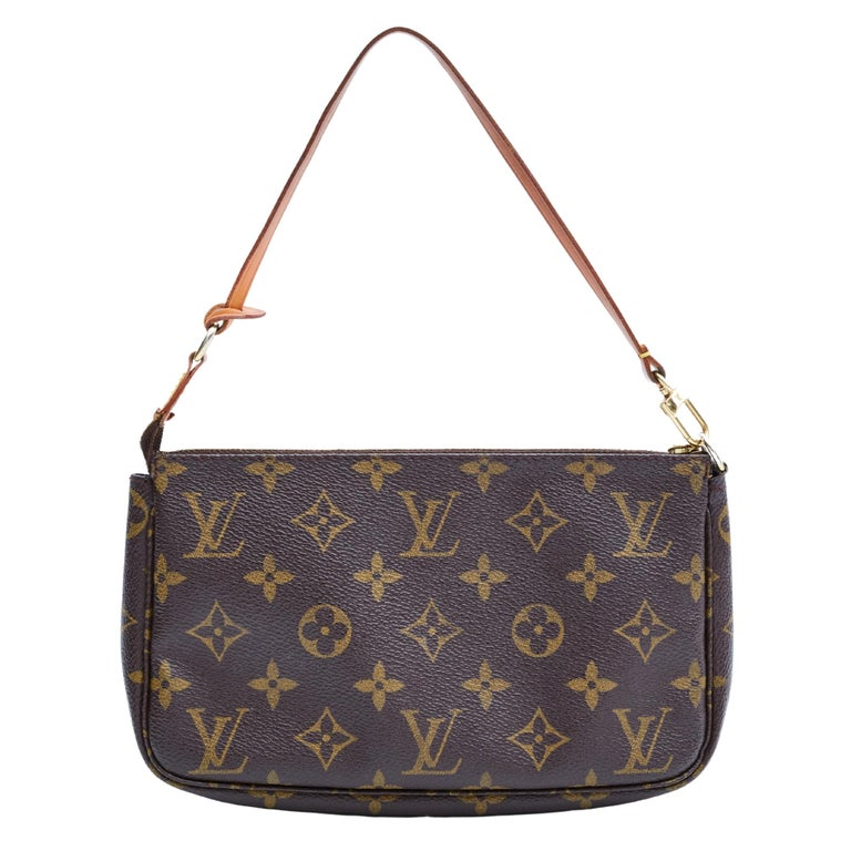 This bag is made with brown canvas with Louis Vuitton's monogram print with leather details. Featuring a leather strap with lobster clamp attachment, top zip closure and brown woven fabric interior lining.  COLOR: Brown MATERIAL: Coated canvas DATE