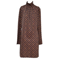 Louis Vuitton Monogram Print Long-Sleeved Dress  L  NEW With Tags
