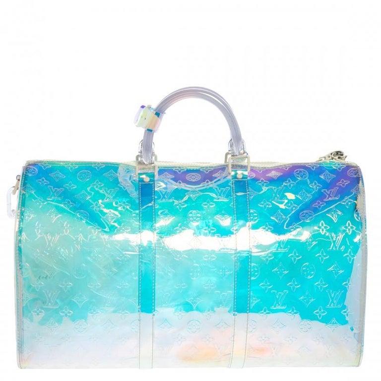 Blue Louis Vuitton Monogram Prism Keepall Bandouliere 50 Bag