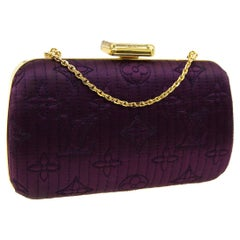 Louis Vuitton Monogram Purple Satin 2in1 Evening Clutch Flap Chain Shoulder Bag