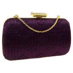 Louis Vuitton Monogram Purple Satin 2in1 Evening Clutch Flap Chain Shoulder Bag