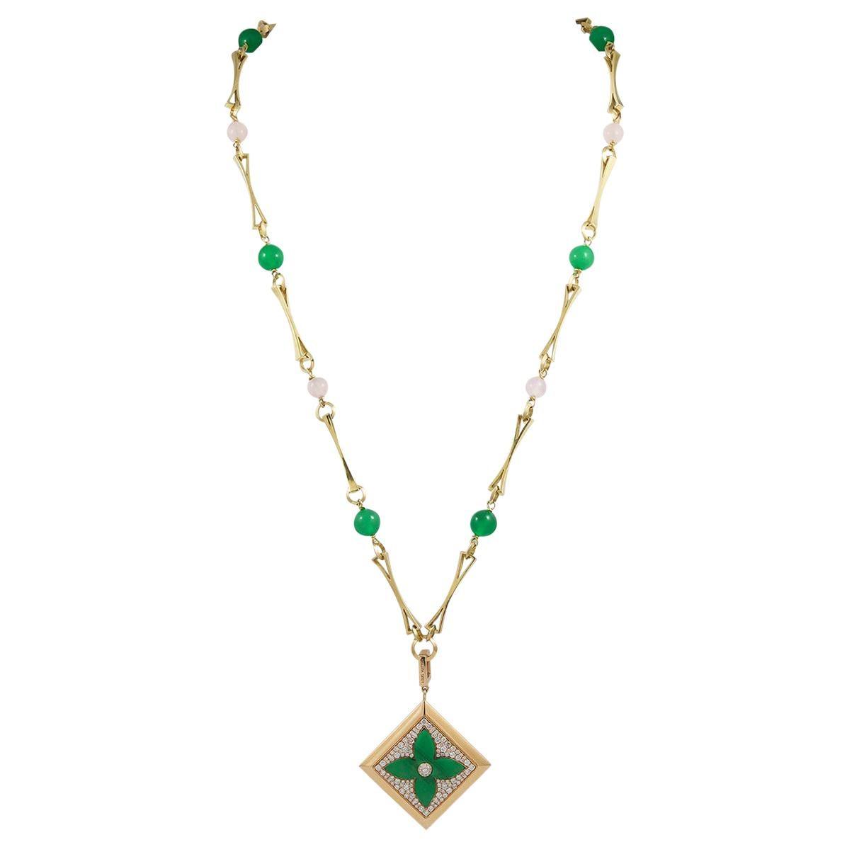 Louis Vuitton Diamond Yellow Gold Monogram Sautoir Detachable Necklace