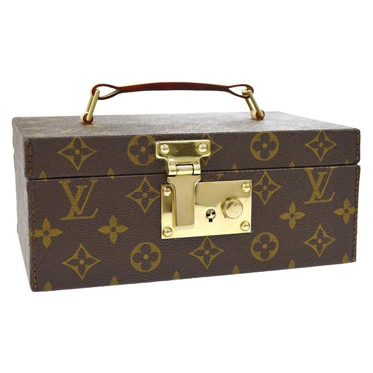 Louis Vuitton Monogram Top Handle Men's Women's Jewelry Travel Storage Case Bag For Sale