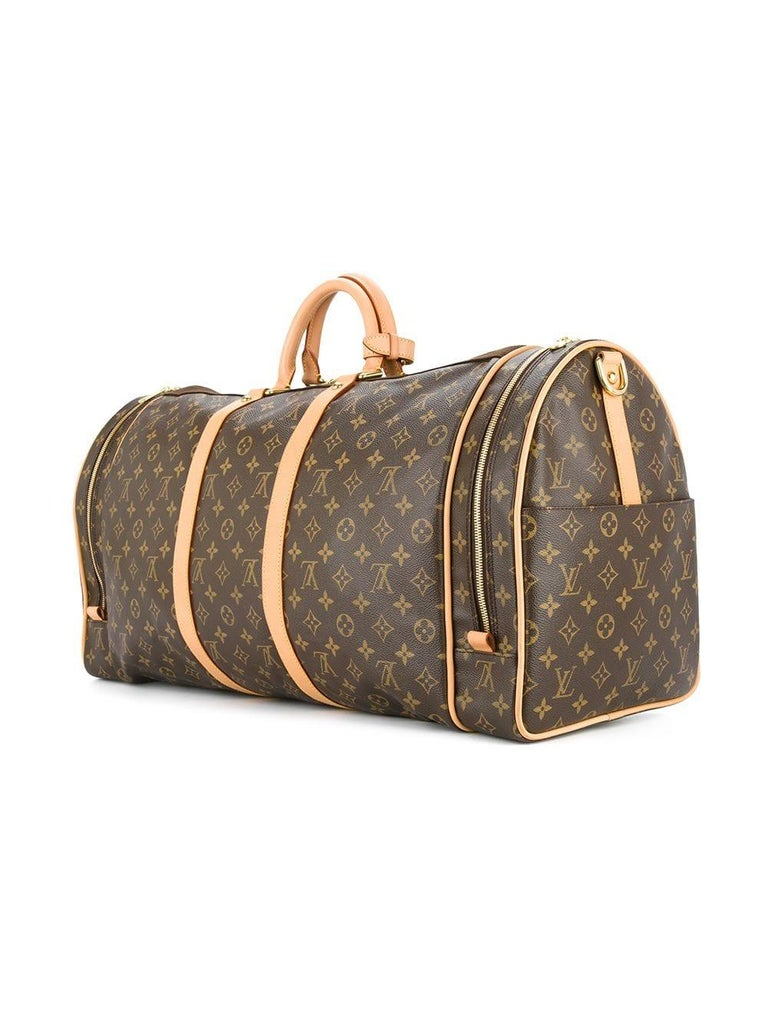 Louis Vuitton Monogram Travel Men's Women's Top Handle Weekender Duffle Bag For Sale 1