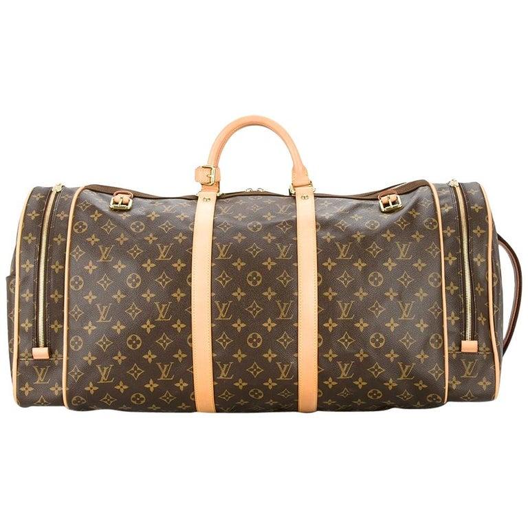 Louis Vuitton Monogram Travel Men's Women's Top Handle Weekender Duffle Bag For Sale