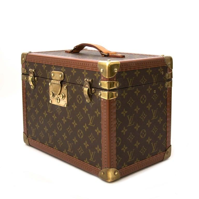 Brown Louis Vuitton Monogram Travel Trunk Case For Sale