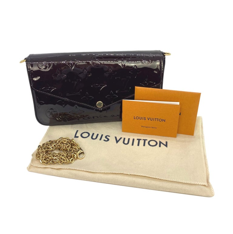 Louis Vuitton Monogram Vernis Amaranth Leather Félicie Pochette, 2019. The Louis Vuitton bag is a classic closet staple, first introduced and inspired by the architect of the Art Deco era of the early 1930's. The Félicie Pochette, introduced as one
