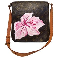 Louis Vuitton Monogram Vintage Customized Hand Painted Pink Flower Musette Salsa