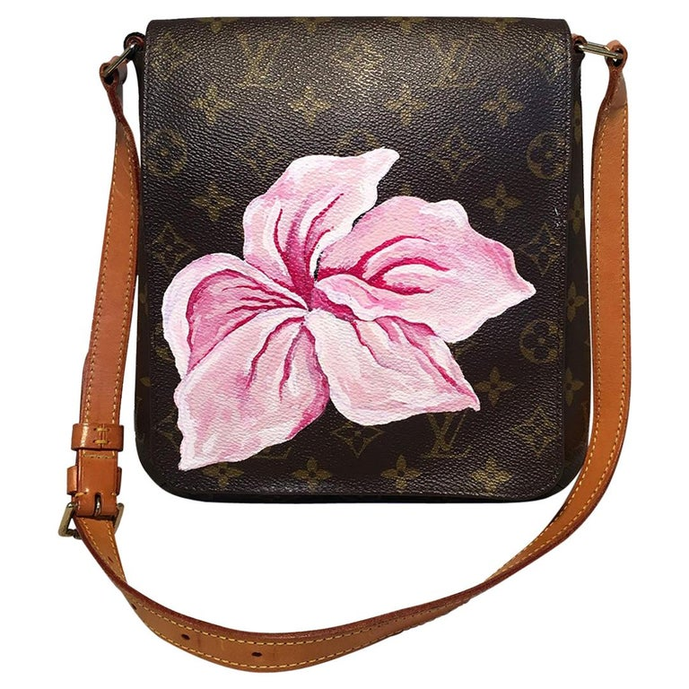 Louis Vuitton Monogram Vintage Customized Hand Painted Pink Flower Musette Salsa For Sale