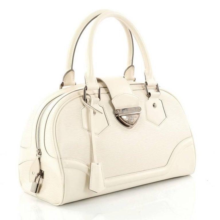 White Louis Vuitton Montaigne Bowling Bag Epi Leather GM For Sale 9f34ddee07f84