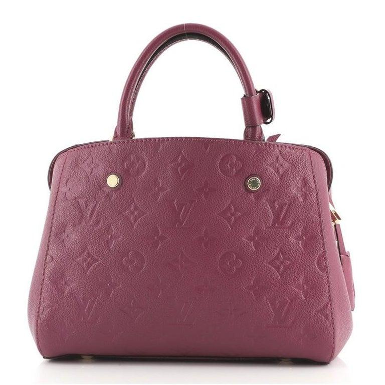 Brown Louis Vuitton Montaigne Handbag Monogram Empreinte Leather BB For Sale