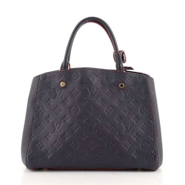 Black Louis Vuitton Montaigne Handbag Monogram Empreinte Leather MM For Sale