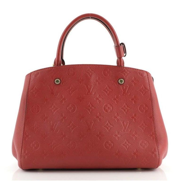Brown Louis Vuitton Montaigne Handbag Monogram Empreinte Leather MM For Sale