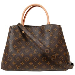 LOUIS VUITTON Montaigne Tote Bag in Brown Monogram Canvas and Natural Leather
