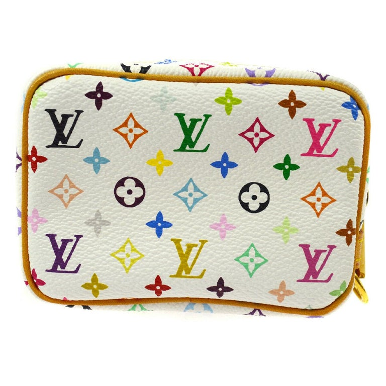 Louis Vuitton Multi Color White Small Mini Evening Clutch Wristlet Pochette Bag   Monogram canvas Leather Gold tone hardware Woven lining Made in France Measures 4