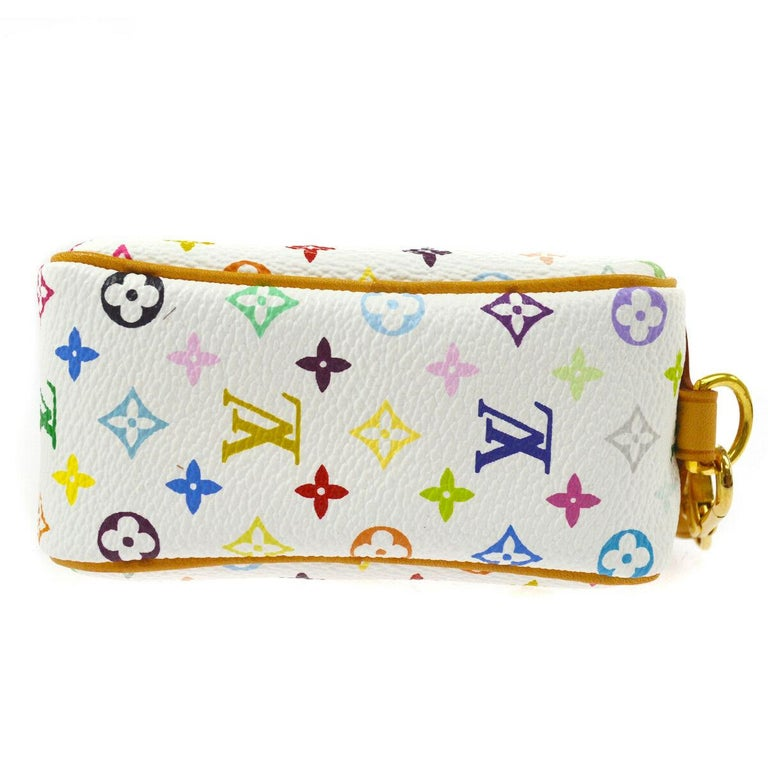 Louis Vuitton Multi Color White Small Mini Evening Clutch Wristlet Pochette Bag  In Good Condition For Sale In Chicago, IL