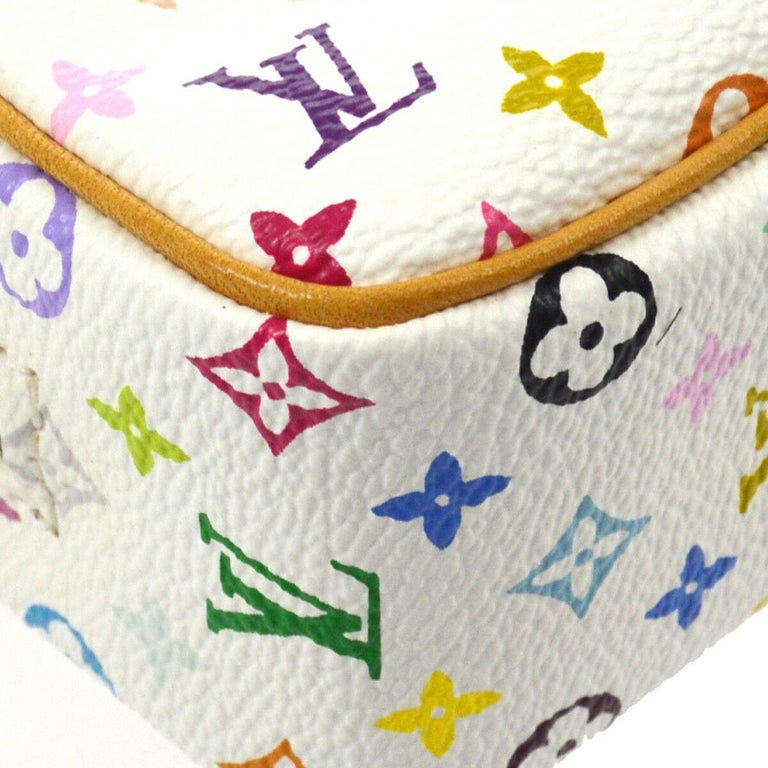 Women's Louis Vuitton Multi Color White Small Mini Evening Clutch Wristlet Pochette Bag  For Sale
