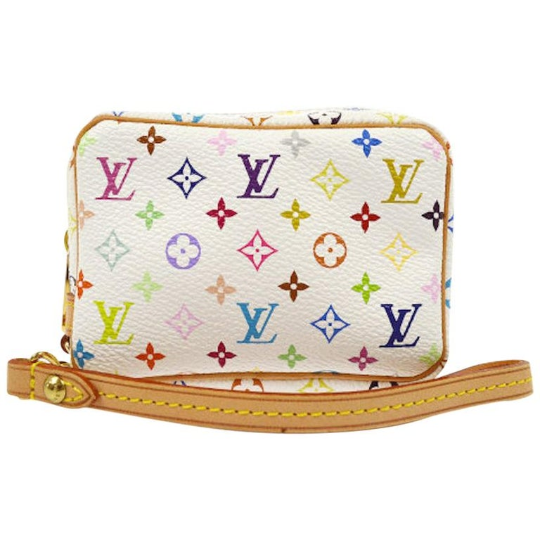 Louis Vuitton Multi Color White Small Mini Evening Clutch Wristlet Pochette Bag  For Sale