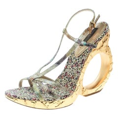 Louis Vuitton Multicolor Brocade Fabric Feerique Morganne Wedge Sandals Size 36