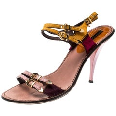Louis Vuitton Multicolor Calf Hair Buckle Ankle Strap Sandals Size 38.5