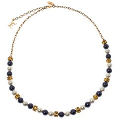 Louis Vuitton Multicolor Crystal Embellished Cry Me A River Pearl Gold Tone Neck