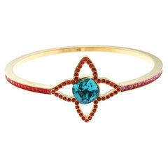 Louis Vuitton Multicolor Crystal Fleur Gold Tone Bangle Bracelet