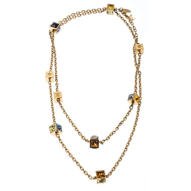 Louis Vuitton Multicolor Crystal Gold Tone Gamble Station Layered Necklace In Good Condition For Sale In Dubai, Al Qouz 2