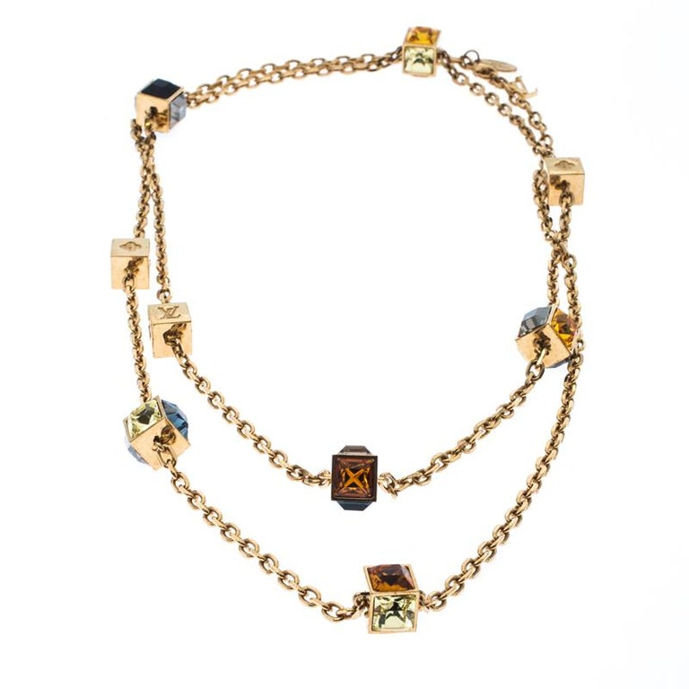 Women's Louis Vuitton Multicolor Crystal Gold Tone Gamble Station Layered Necklace For Sale