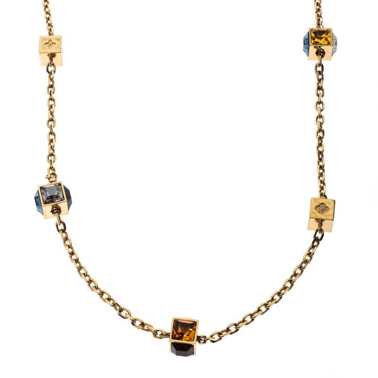 Louis Vuitton Multicolor Crystal Gold Tone Gamble Station Layered Necklace For Sale 1
