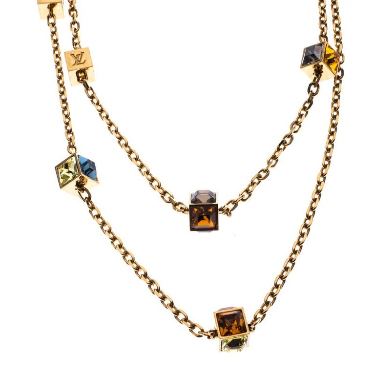 Louis Vuitton Multicolor Crystal Gold Tone Gamble Station Layered Necklace For Sale 2