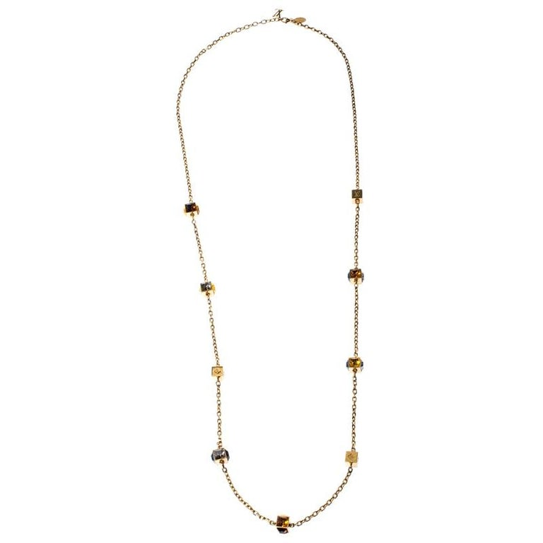 Louis Vuitton Multicolor Crystal Gold Tone Gamble Station Layered Necklace For Sale