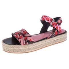Louis Vuitton Multicolor Floral Canvas Ankle Strap Espadrille Flat Sandals 39