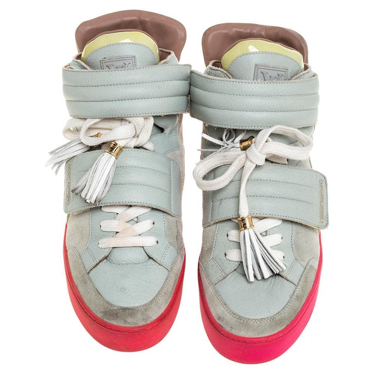 Gray Louis Vuitton  Multicolor Leather and Suede Jasper High Top Sneakers   Size 40.5 For Sale