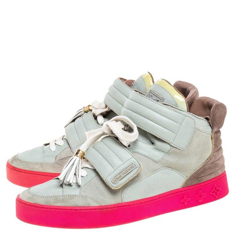 Louis Vuitton  Multicolor Leather and Suede Jasper High Top Sneakers   Size 40.5 In Good Condition For Sale In Dubai, Al Qouz 2