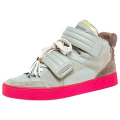 Louis Vuitton  Multicolor Leather and Suede Jasper High Top Sneakers   Size 40.5