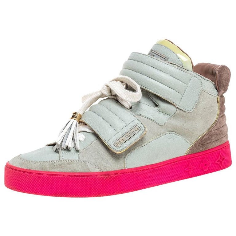 Louis Vuitton  Multicolor Leather and Suede Jasper High Top Sneakers   Size 40.5 For Sale