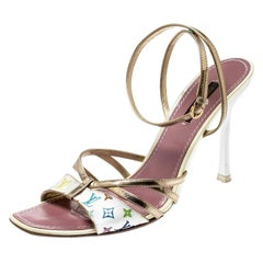 Louis Vuitton Multicolor Monogram Leather Ankle Strap Open Toe Sandals Size 38