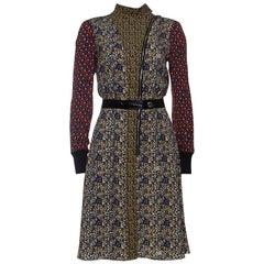 Louis Vuitton Multicolor Printed Silk High Neck Midi Dress M