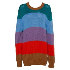 Louis Vuitton Multicolor Striped Cotton & Cashmere Sweater Mini Dress L